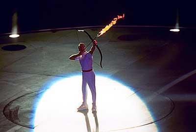 Зажжение огня на Олимпиаде в Барселоне